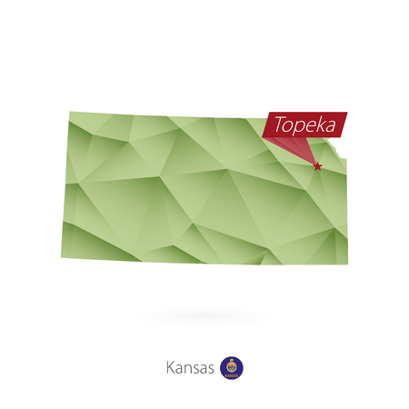 Green gradient low poly map of Kansas with capital Topeka Illustration