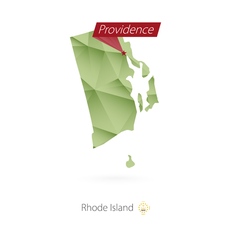Green gradient map of Rhode Island with capital Providence Imagens - 99146853