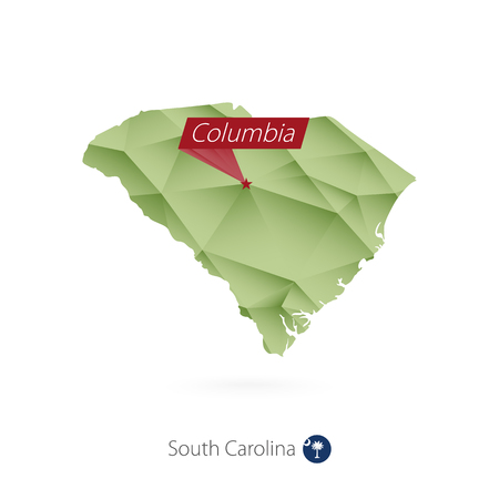 Green gradient map of South Carolina with capital Columbia