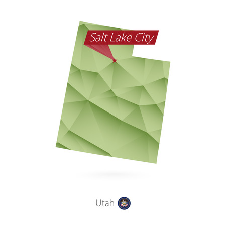 Green gradient low poly map of Utah with capital Salt Lake City Vector illustration.