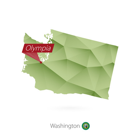 Green gradient low poly map of Washington with capital Olympia Vector illustration.