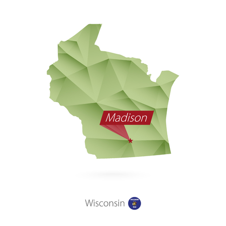 Green gradient low poly map of Wisconsin with capital Madison