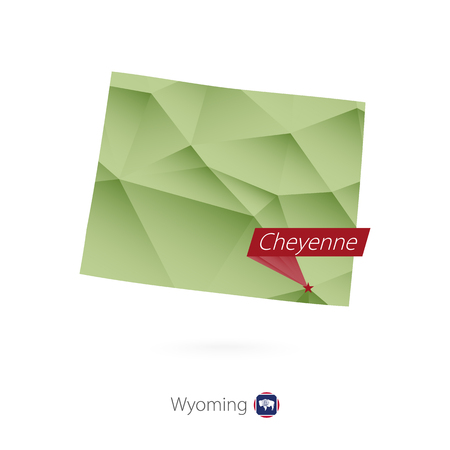 Green gradient low poly map of Wyoming with capital Cheyenne