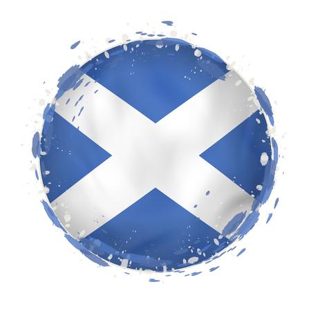 bandera redonda del grunge de escocia