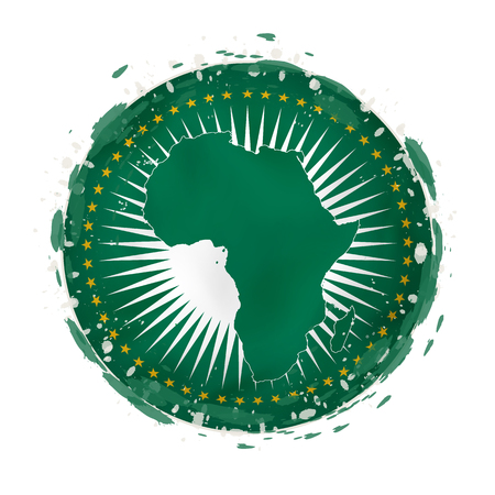 Round grunge flag of African Union with splashes in flag color. Vector illustration.