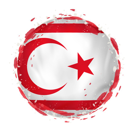Round grunge flag of Northern Cyprus with splashes in flag color. Vector illustration. Illustration
