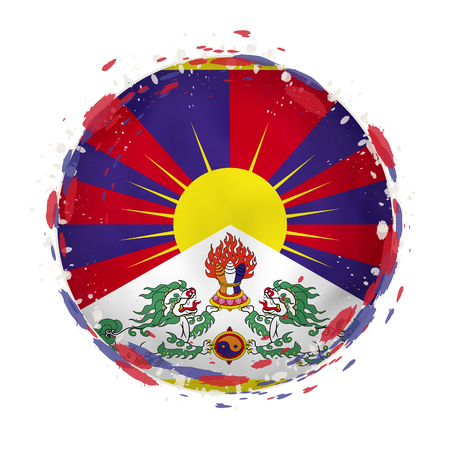 Round grunge flag of Tibet with splashes in flag color. Vector illustration.