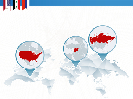 Infographics about the conflict between United States of America, Syria and Russia, three countries on world map. Stock Illustratie