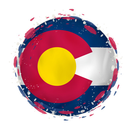 Round grunge flag of Colorado US state with splashes in flag color. Vector illustration. Çizim