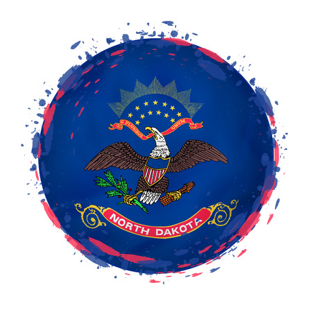 Round grunge flag of North Dakota US state with splashes in flag color. Vector illustration.