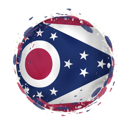 Round grunge flag of Ohio US state with splashes in flag color. Vector illustration.