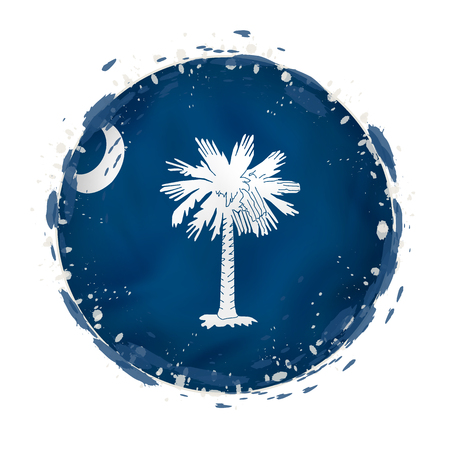 Round grunge flag of South Carolina US state with splashes in flag color. Vector illustration.