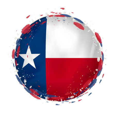 Round grunge flag of Texas US state with splashes in flag color. Vector illustration.
