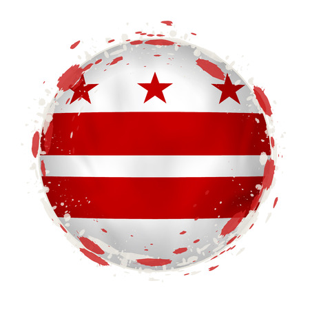 Round grunge flag of District of Columbia US state with splashes in flag color. Vector illustration.