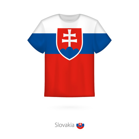 T-shirt design with flag of Slovakia. T-shirt vector template.  イラスト・ベクター素材
