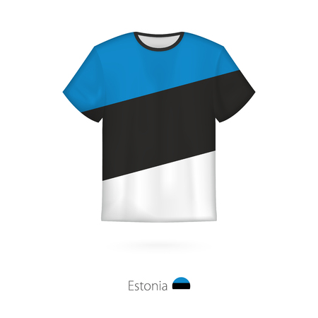 T-shirt design with flag of Estonia. T-shirt vector template.