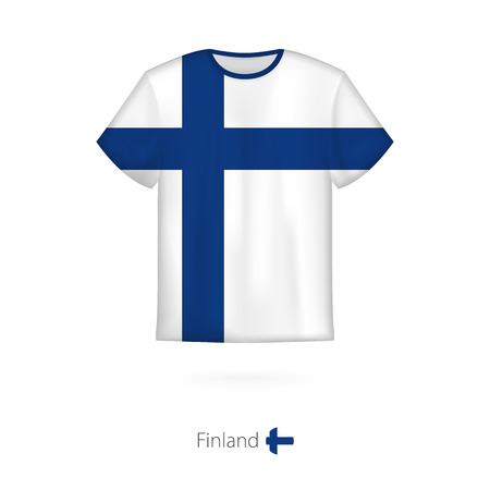 T-shirt design with flag of Finland. T-shirt vector template. Illustration