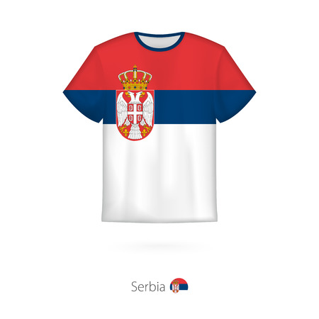T-shirt design with flag of Serbia. T-shirt vector template.