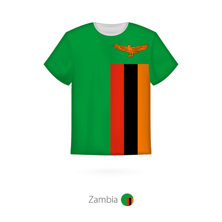 T-shirt design with flag of Zambia T-shirt vector template.
