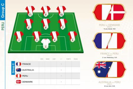 Peru football team infographic for football tournament. Vector illustration.
