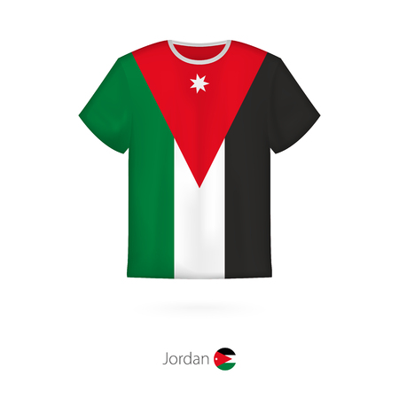 T-shirt design with flag of Jordan. T-shirt vector template. Vettoriali