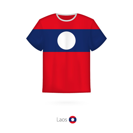 T-shirt design with flag of Laos. T-shirt vector template.