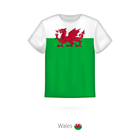 T-shirt design with flag of Wales