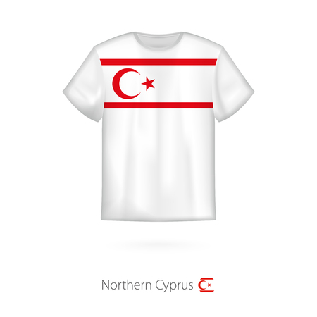 T-shirt design with flag of Northern Cyprus. T-shirt vector template.