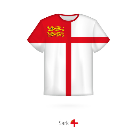 T-shirt design with flag of Sark. T-shirt vector template. Illustration