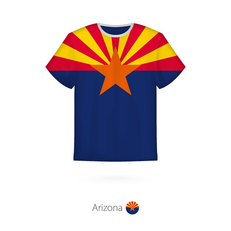 T-shirt design with flag of Arizona U.S. state. T-shirt vector template.