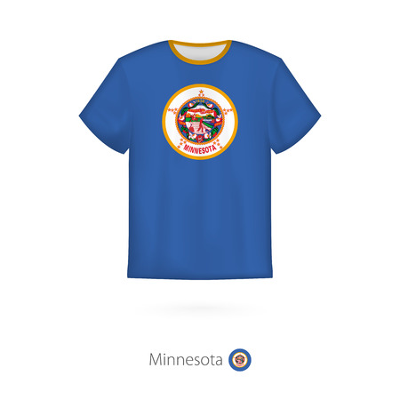 T-shirt design with flag of Minnesota U.S. state. T-shirt vector template.
