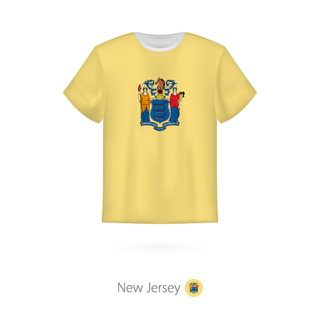 T-shirt design with flag of New Jersey U.S. state. T-shirt vector template. Illusztráció