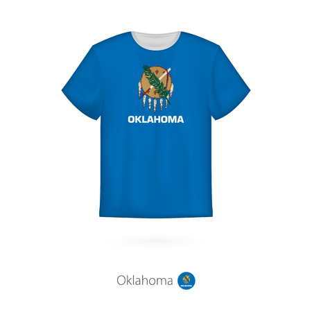 T-shirt design with flag of Oklahoma U.S. state. T-shirt vector template.