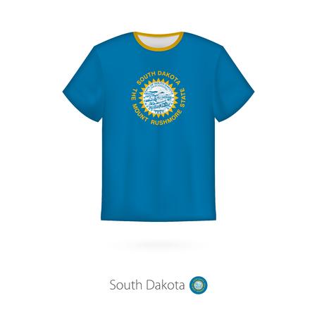 T-shirt design with flag of South Dakota U.S. state. T-shirt vector template.