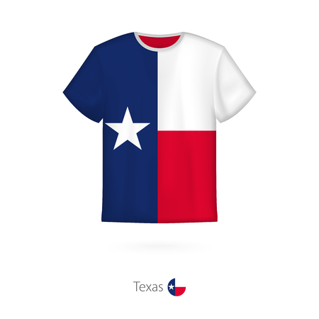 T-shirt design with flag of Texas U.S. state. T-shirt vector template.