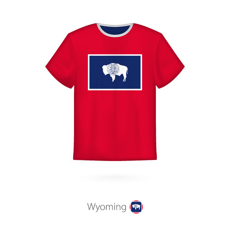 T-shirt design with flag of Wyoming U.S. state. T-shirt vector template. 일러스트