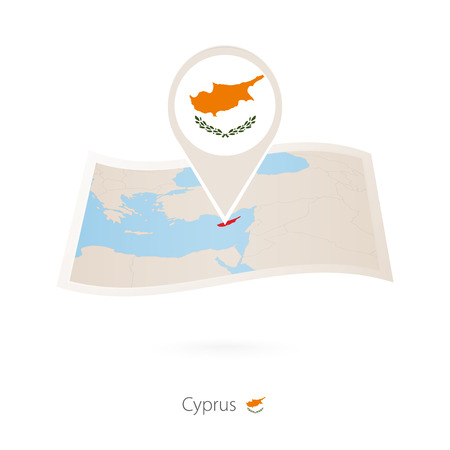 Folded paper map of Cyprus with flag pin of Cyprus. Ilustracja