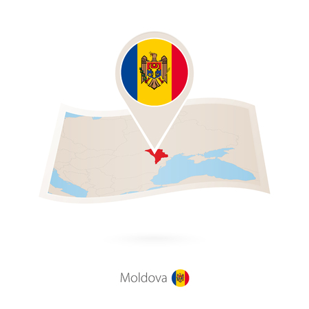 Folded paper map of Moldova with flag pin of Moldova vector illustration. Archivio Fotografico - 100593478