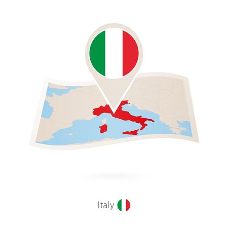 Gefaltete Papierkarte von Italien mit Flaggenstift von Italien Vektorillustration.