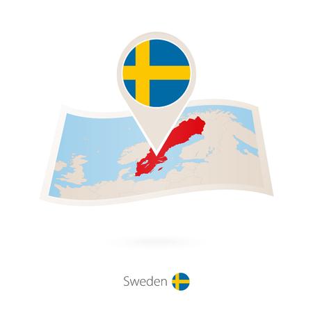 Folded paper map of Sweden with flag pin of Sweden vector illustration.