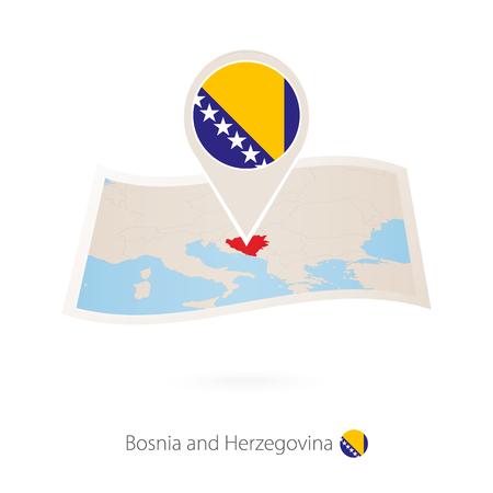 Folded paper map of Bosnia and Herzegovina with flag pin of Bosnia and Herzegovina vector illustration.