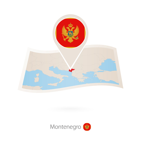 Folded paper map of Montenegro with flag pin of Montenegro vector illustration.