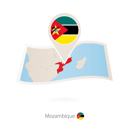 Folded paper map of Mozambique with flag pin of Mozambique. Vector Illustration