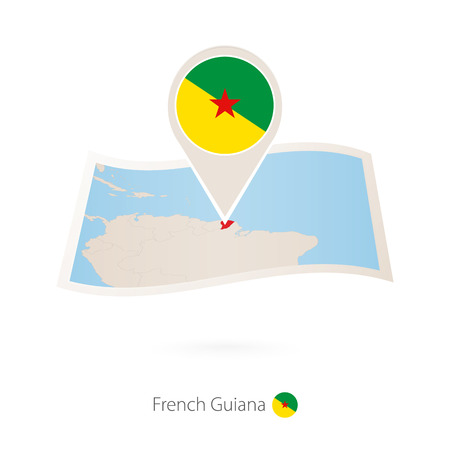 Folded paper map of French Guiana with flag pin of French Guiana. Vector Illustration Foto de archivo - 104629480