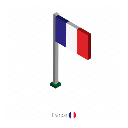 France Flag on Flagpole in Isometric dimension. Isometric blue background. Vector illustration. Vettoriali