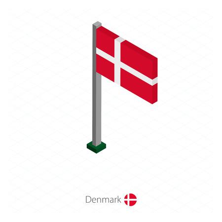 Denmark Flag on Flagpole in Isometric dimension. Isometric blue background. Vector illustration.