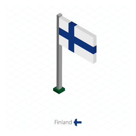 Finland Flag on Flagpole in Isometric dimension. Isometric blue background. Vector illustration.