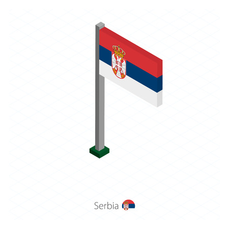 Serbia Flag on Flagpole in Isometric dimension.