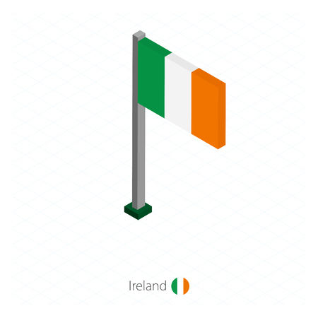 Ireland Flag on Flagpole in Isometric dimension.