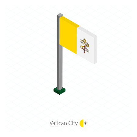 Vatican City Flag on Flagpole in Isometric dimension. 일러스트